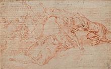 École de Paul de VOS Halali du cerf Sanguine et crayon noir 23,3×37 cm Ecritures transparaissantes Annoté EP. en bas à gauche Prove...