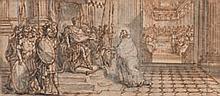 Sébastien LECLERC (Metz 1637-Paris 1714) Scène religieuse saint Athanase accusé durant le concile de Tyre Plume et encre brune, lavi...