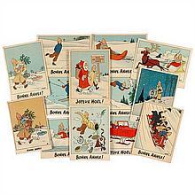 13 « Cartes neige »Cartes de vœux sans mention d'éditeur