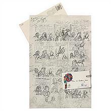 Carte de vœux 1975Crayonné de Tintin et les Picaros
