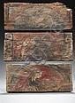 Trois panneaux de plafond en bois de résineux peint de différents sujets, certains devant correspondre à des dictons : une femme pos...