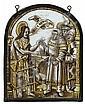 Vitrail de forme cintrée en grisaille et jaune d'argent représentant le Témoignage du Baptiste