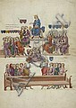 Grande feuille enluminée de manuscrit sur vélin, pliée en deux