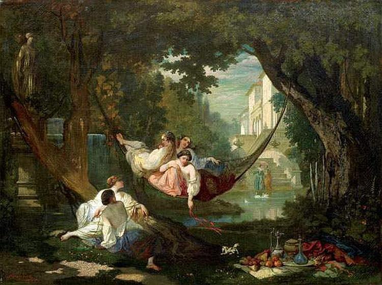 AUGUSTE GLAIZE (1807-1893) - DETENTE AU JARDIN