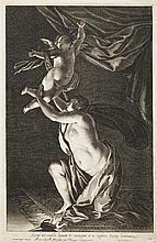 Simon Vouet (1590-1649) (d'après) Cupidon et Psyché (Accipe me cupido dignam te conjugem et tu zephire scucipe dominam.) Gravé par D..