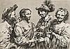 Simon Vouet (1590-1649) (d'après) La Diseuse de bonne aventure. Burin par un anonyme. 275 x 193. Très belle épreuve rognée au sujet ..