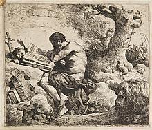 Jean-Jacques Lagrenée (1739-1821) Saint Jérôme. Eau-forte. 148 x 126. Baudicour 17 ; I.F.F. 18. Belle épreuve. Petite trace de colle...