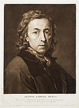 Josef Clarot (c. 1770-1820) Antoine Raphael Mengs. Manière noire d'après l'autoportrait de l'artiste. 268 x 380. Belle épreuve tirée