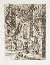 Giambattista Piranesi (1720-1778) L'Escalier aux trophées. (Carceri, pl. VIII). Eau-forte. 395 x 545. Hind 8 ; Robison 34. Très bell..