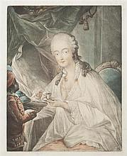 Édouard Gautier-Dagoty (1745-1783) Madame du Barry à laquelle son petite nègre Zamore offre une tasse de café. Manière noire. 315 x ...