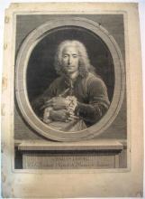 Jean-Joseph Balechou (1715-1764) Charles Coypel de l'Académie Royale de Peinture et Sculpture. Gravé d'après l'autoportrait de l'ar