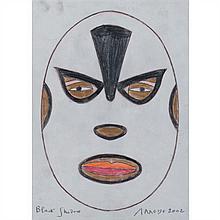 Eduardo Arroyo (né en 1937)Black Shadow catcheur mexicain, 2002Crayons de couleur sur papierSigné, daté et titré en bas33, 5 × 24 cm...