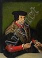 École FLAMANDE vers 1550, suiveur d'Ambrosius BENSON Portrait d'homme caressant son chien et tenant une lettre Portrait de dame...