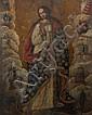 École du CUZCO du XVIIIe siècle Vierge de l'Apocalypse Toile 145,5 x 115 cm (Restaurations et manques)