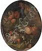 Attribué à Ignaz STERN (1680-1748) Coq au bouquet de fleurs Cuivre ovale 29,5 x 24,5 cm Porte une inscription au revers Jean baptist...