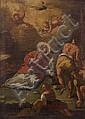 École VÉNITIENNE du XVIIe siècle Le Martyre de saint Etienne Toile 34 x 25 cm Sans cadre