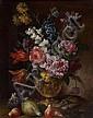 École ROMAINE vers 1650 Vase de grotesque avec des fleurs et des figues Toile 44,5 x 34,5 cm