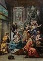 Attribué à Jacopo ZUCCHI (vers 1541-1589/90) La Naissance de saint Jean-Baptiste Cuivre 33,5 x 24 cm Sans cadre