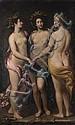 Attribué à Francesco RUSTICI (Sienne 1595-1626) La Sculpture, la Peinture et l'Architecture Toile, agrandie probablement d'une bande.
