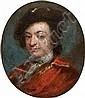 École VÉNITIENNE du XVIIIe siècle Portrait d'homme au béret Cuivre 6,5 x 6 cm
