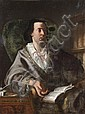 Attribué à Giuseppe BONITO (1707-1789) Portrait d'homme dans son fauteuil Toile 115 x 86 cm (Griffures et restaurations) Sans cadre