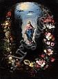 École ANVERSOISE vers 1620, entourage de Jan BRUEGHEL le vieux  L'Ascension de la Vierge dans une guirlande de fleurs, de fruits et ..