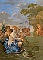 Attribué à Gérard HOET (1648-1733) Amphitrite Panneau de chêne, une planche, non parqueté 30 x 23 cm Sans cadre