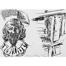 Raymond PETTIBON (né en 1957, vit et travaille à Venice Beach, Etats Unis) Sans Titre (Inside The Bookcase), 2007 Lithograph...