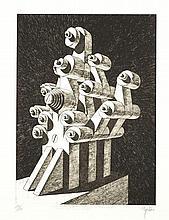 Ramón ALEJANDRO (né en 1943) Ensemble de trois estampes, une gravure en noir de 1974, signée et numérotée 21/50; une sérigraphie en cou