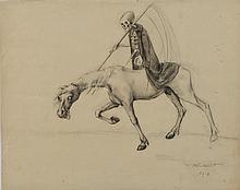 Marcel-Louis Baugniet (1896-1995) La mort à cheval, 1917