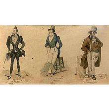 Victor Vincent Adam (Paris 1801-Viroflay 1886)Trois caricatures de parisien sur la même feuille : le romantique, le fashionable et l...