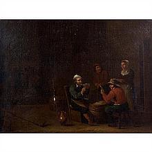 Egbert van Heemskerck(Haarlem 1634-Londres 1704)Les joueurs de cartesLes buveursPaire de toiles47,5 x 63,5 cmLe deuxième est sans ca...