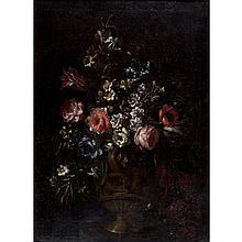 École Française de la fin du XVIIe siècle, entourage de Jean Baptiste MonnoyerBouquets de fleurs sur un entablementPaire de toiles73...