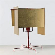 Axel Schmid24 karat blautlampe de tableRésine, feuilles dorées et métal laqué rougeEdition Ingo MaurerH 43 × L 33 × 33 cm