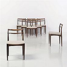 Kai Lyngfeldt LarsenEnsemble de huit chaisesPalissandre et tissuEdition So WilladsenDate de création : vers 1960H 77 × L 48 × P 44 cm