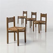 Charlotte Perriand (1903-1999)MéribelEnsemble de quatre chaisesChêne et paille trésséeEdition Steph SimonDate de création : 1964H 76...