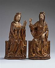 Rare groupe en chêne sculpté avec restes de polychromie et de dorure représentant le Couronnement de la Vierge