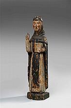 Saint Dominique en chêne sculpté et polychromé, dos creusé