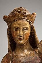 Vierge à l'Enfant en pierre calcaire polychrome, dos ébauché