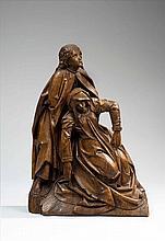 La Pamoison de la Vierge en chêne sculpté, groupe de retable. Marie évanouie est presque agenouillée, soutenue par Jean qui la retie...