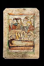 Rare image de dévotion sur parchemin représentant le martyre de saint Laurent