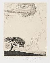 Ernst FUCHS (autrichien, né en 1930) [Ange volant et aeil céleste] Pl. de la suite