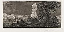 Ernst FUCHS (autrichien, né en 1930) [Femme nue apparaissant dans un paysage], 1967