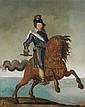 * École FLAMANDE du XVIIe siècle Portrait de Louis XIII à cheval, en armure avec le bâton de commandement