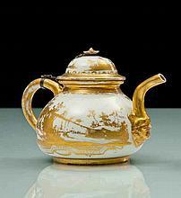 Meissen Théière couverte en porcelaine de Böttger à décor en or exécuté à Augsbourg dans l'atelier de Bartolomeus Seuter de paysages a