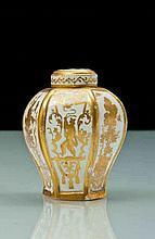Meissen Boite à thé couverte de forme hexagonale en porcelaine de Böttger à décor en or exécuté à Augsbourg dans l'atelier de Bartolom