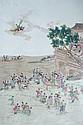 CHINE. XXe siècle Plaque de forme rectangulaire en porcelaine décorée en émaux polychromes de femmes près d'une rivière attendant l'a