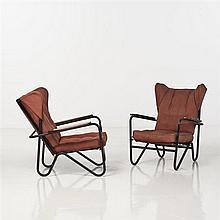Pierre Guariche (1926-1995)PrefactoPaire de fauteuils basMétal tubulaire laqué noir, tissu et boisEdition AirboneDate de création : ...