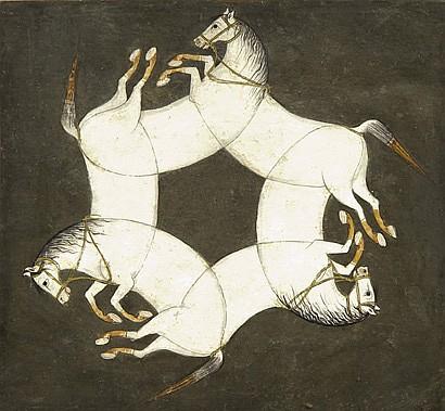 Chevaux enchevêtrés Miniature collée sur page cartonnée présentant trois chevaux enchevêtrés dessinant une rosace sur fond vert