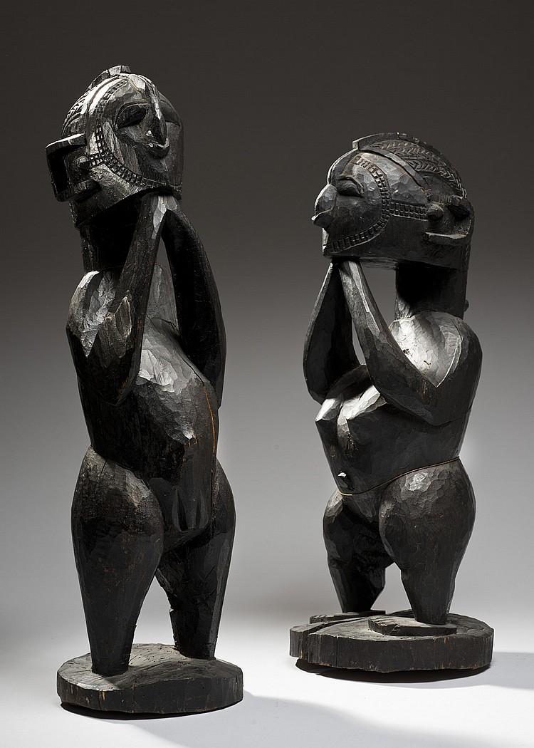 Baga, Guinée Ancien couple de statuettes masculine et féminine de type D'mba